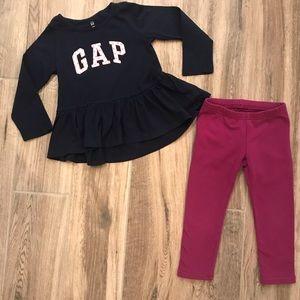 Gap Longsleeve Ruffle Top and Pants Set 3T